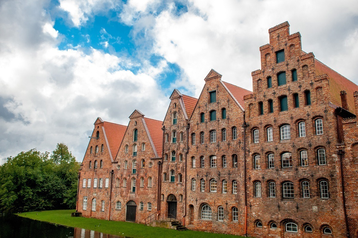 The centuries-old salt storehouses along the Trave River in Lubeck, Germany