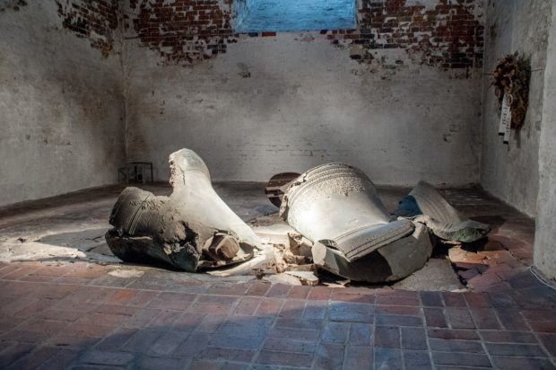 Two bells in St. Mary's Church in Lubeck, Germany, still where they crashed down in 1942