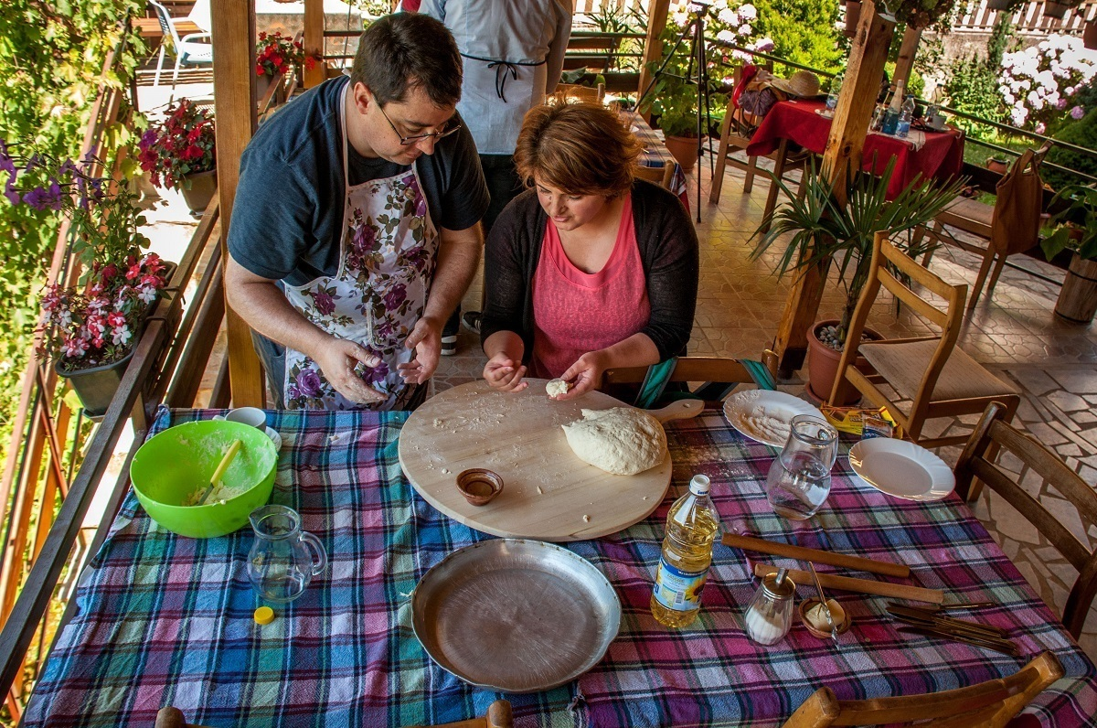 Anita of Risto's Guest House teaching us Macedonian cooking.