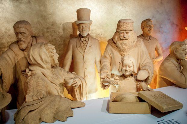 Life-sized marzipan statues (Santa included) are on display in the marzipan museum