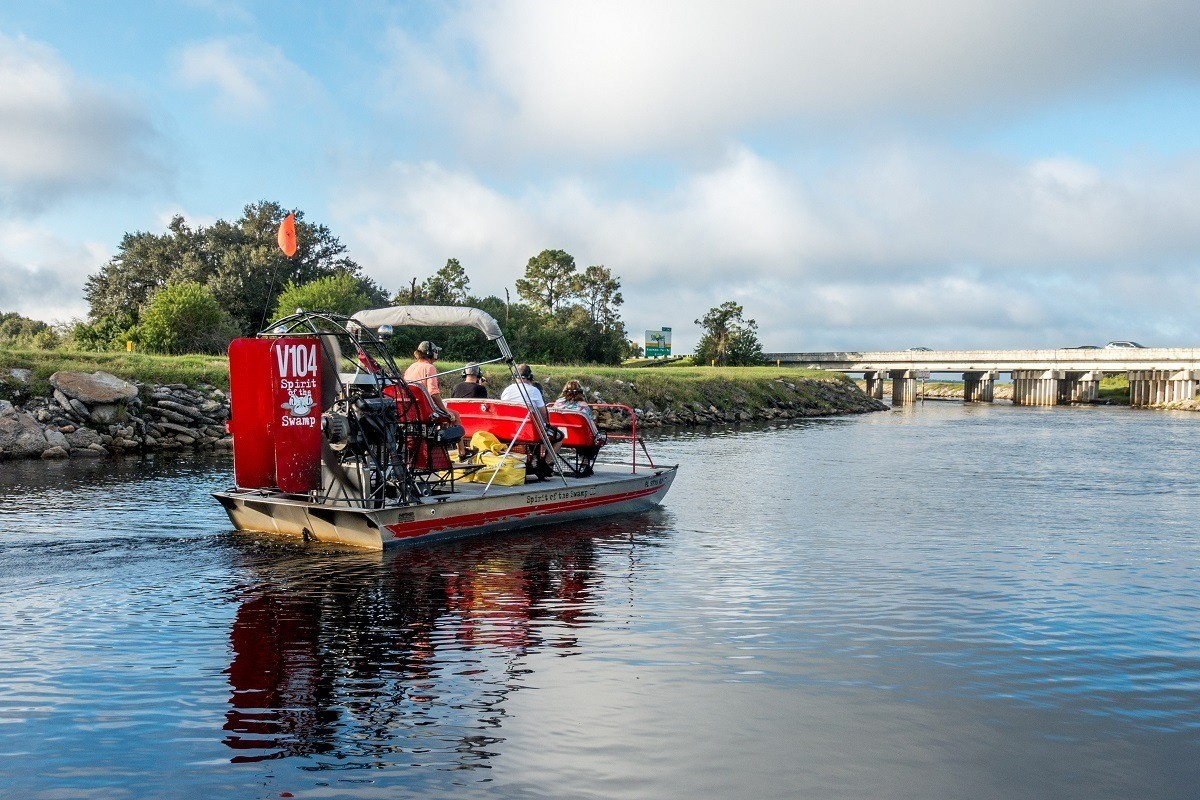 Spirit of the Swamp airboat rides in Kissimmee, Florida, take visitor through the headwaters of the Everglades