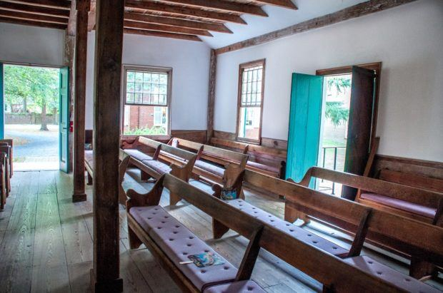 Inside Third Haven Meeting House whose Quaker members freed some residents of The Hill, an historic settlement of free African-Americans in Easton, MD
