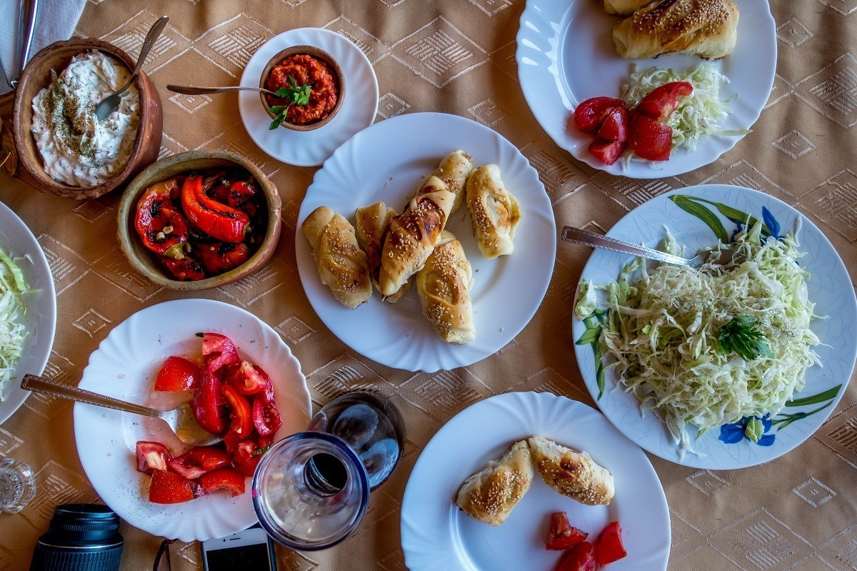 A traditional Macedonian lunch at Risto's Guest House after our cooking class.