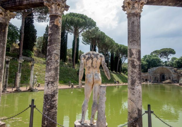 The Canopus pool at Hadrian's Villa, a 2nd century UNESCO site just outside of Rome, Italy