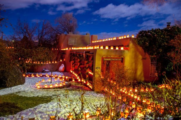 Art galleries in Santa Fe are decked out in lights in the winter