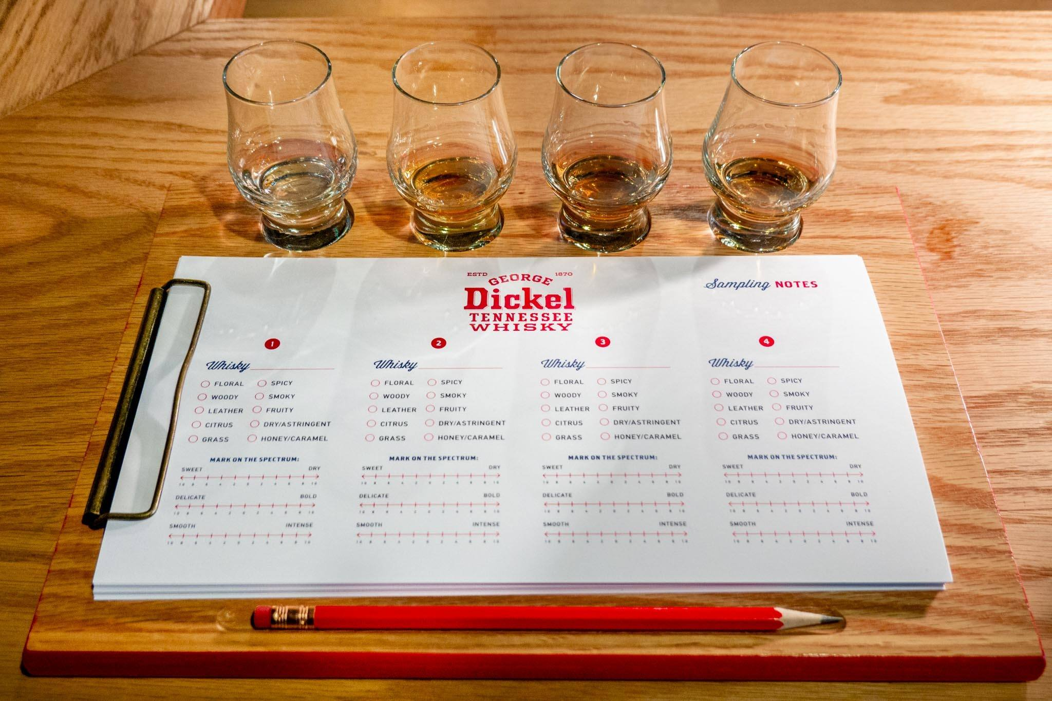 Four whiskey glasses and tasting notes at Cascade Hollow Distilling
