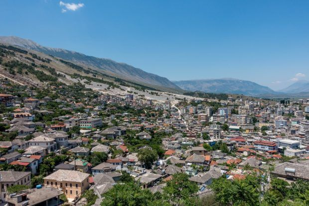 Overlooking the UNESCO city of Gjirokastra, Albania