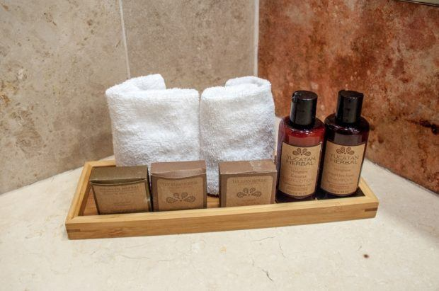 The bathroom amenities feature ecologically conscious and biodegradable soaps and shampoos.