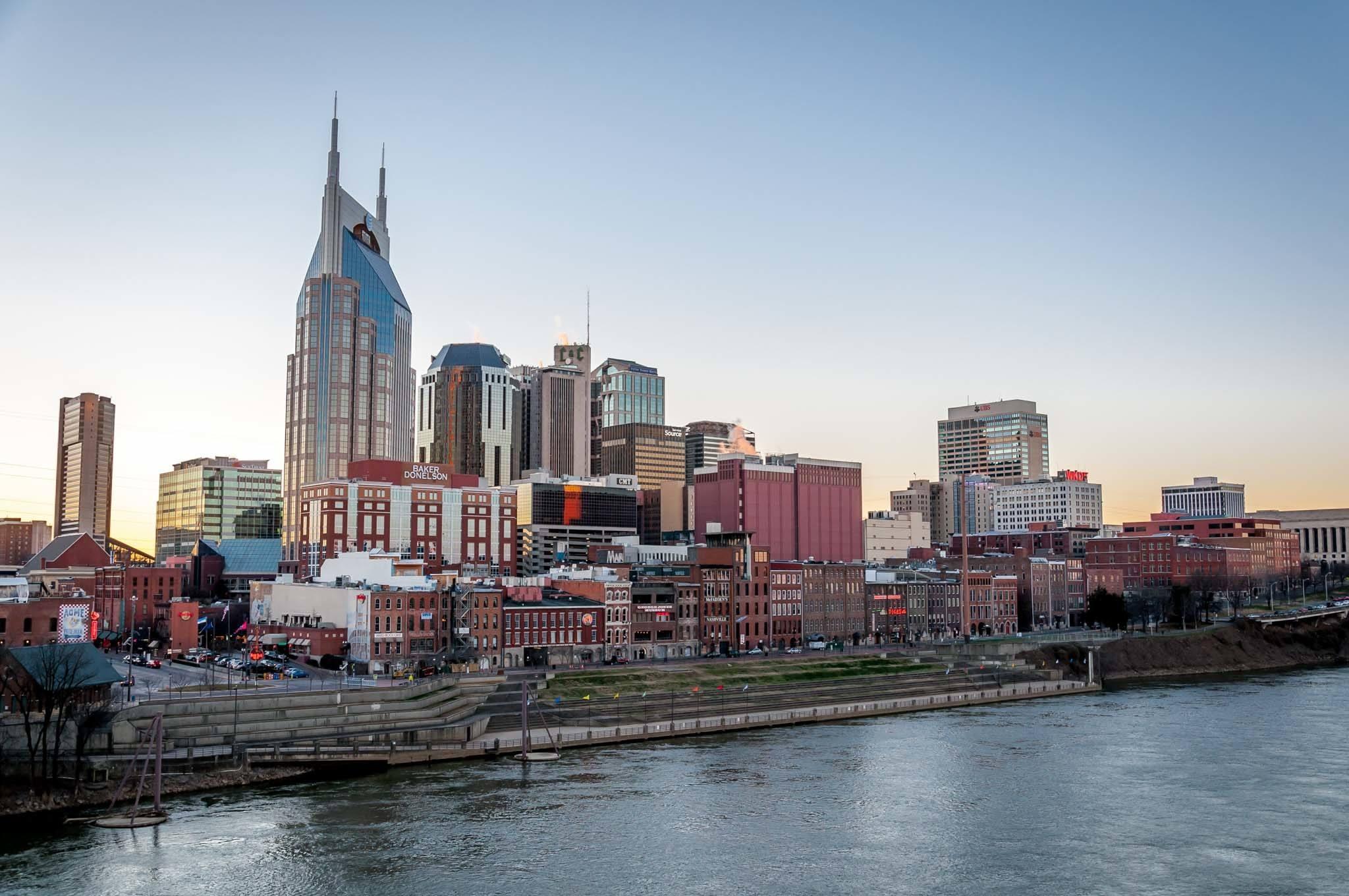 Nashville skyline over the Cumberland River