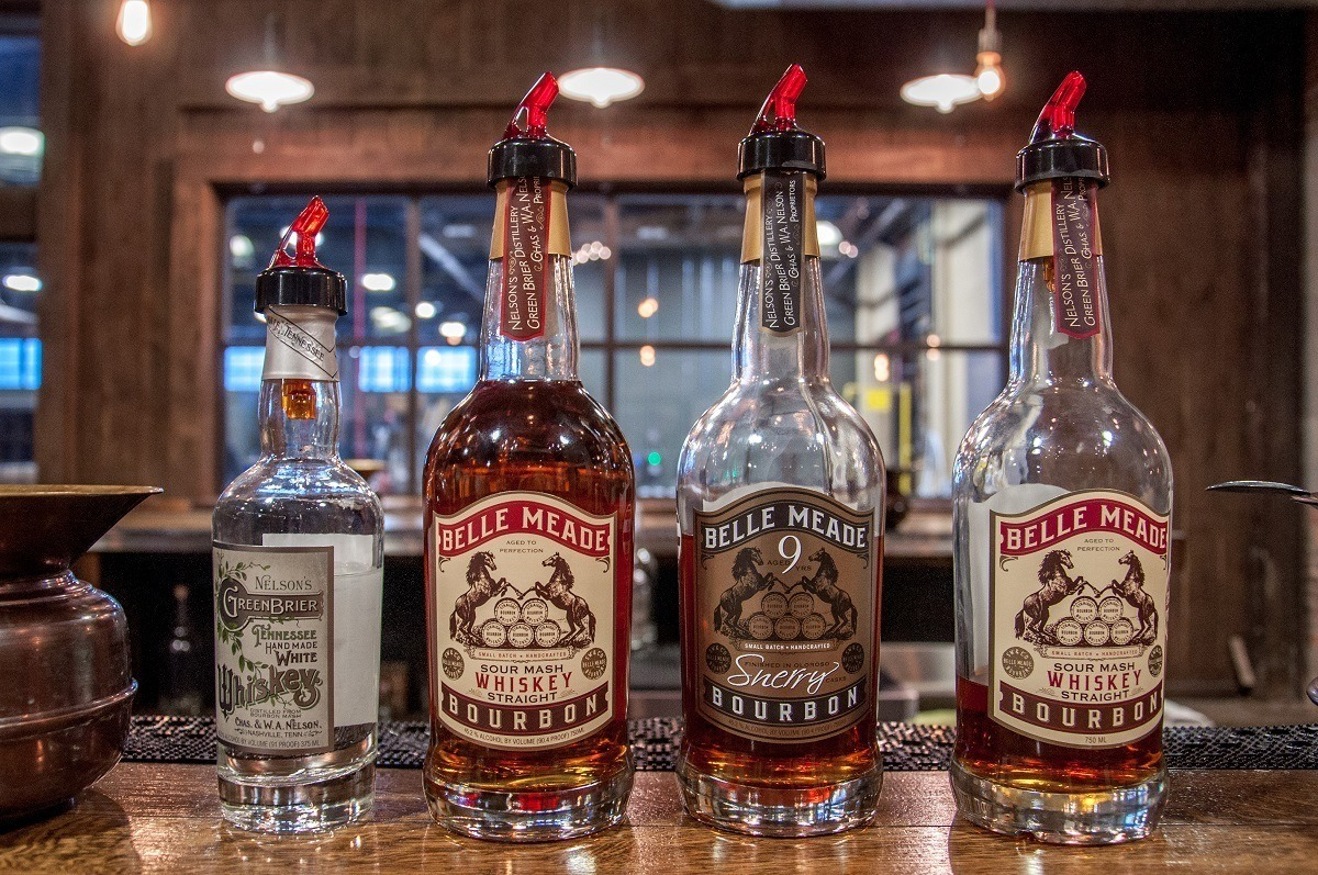 Four whiskey bottles at Nelson's Green Brier Distillery in Nashville