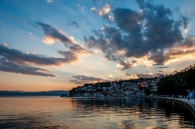 Lake Ohrid, Macedonia, at sunset