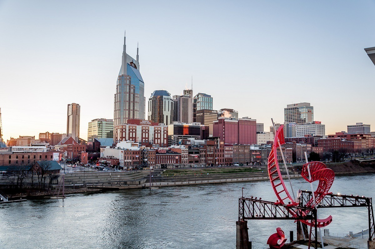 Skyline of Nashville and the Cumberland River