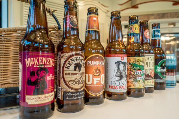 Selection of craft beers available in the America pavilion at Epcot in Orlando, Florida