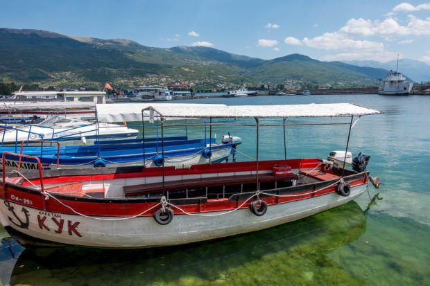 Boats on Lake Ohrid in Macedonia. A visit to the lake is one of the best things to do in Macedonia.