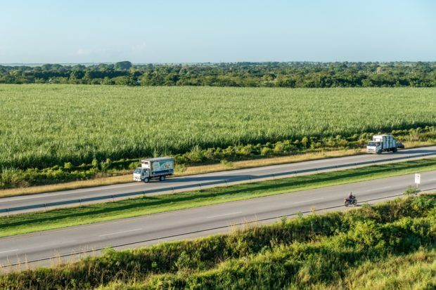 Drivers pulling over to take photos of our hot air balloon near Punta Cana, Dominican Republic