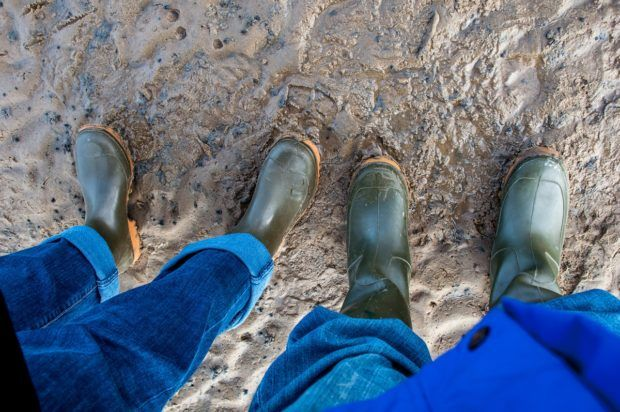 Mud boots are important gear for exploring the Wadden Sea salt flats.