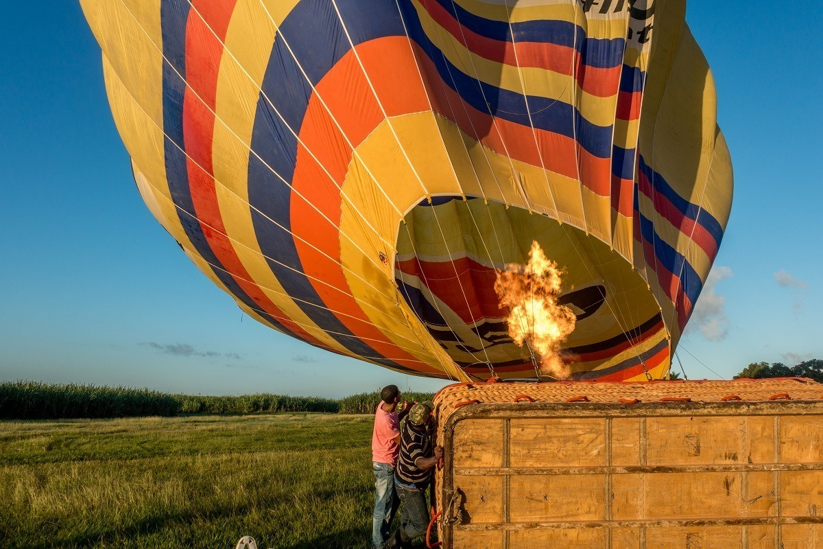The pilot light inflating a hot air balloon in Punta Cana, Dominican Republic