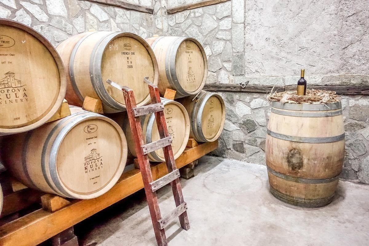 Barrels at Popova Kula winery in Macedonia