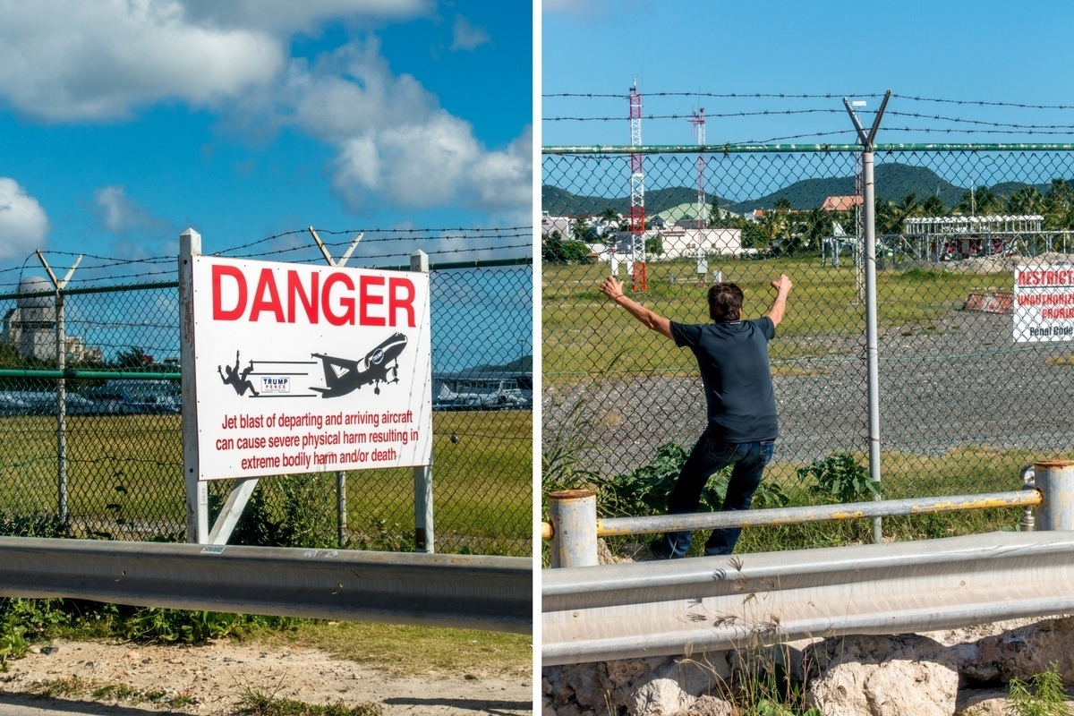 Warning sign telling visitors not to fence surf and a man on the fence