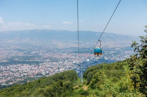 Riding the cable car at Mount Vodno in Skopje is one of the fin things to do in Macedonia