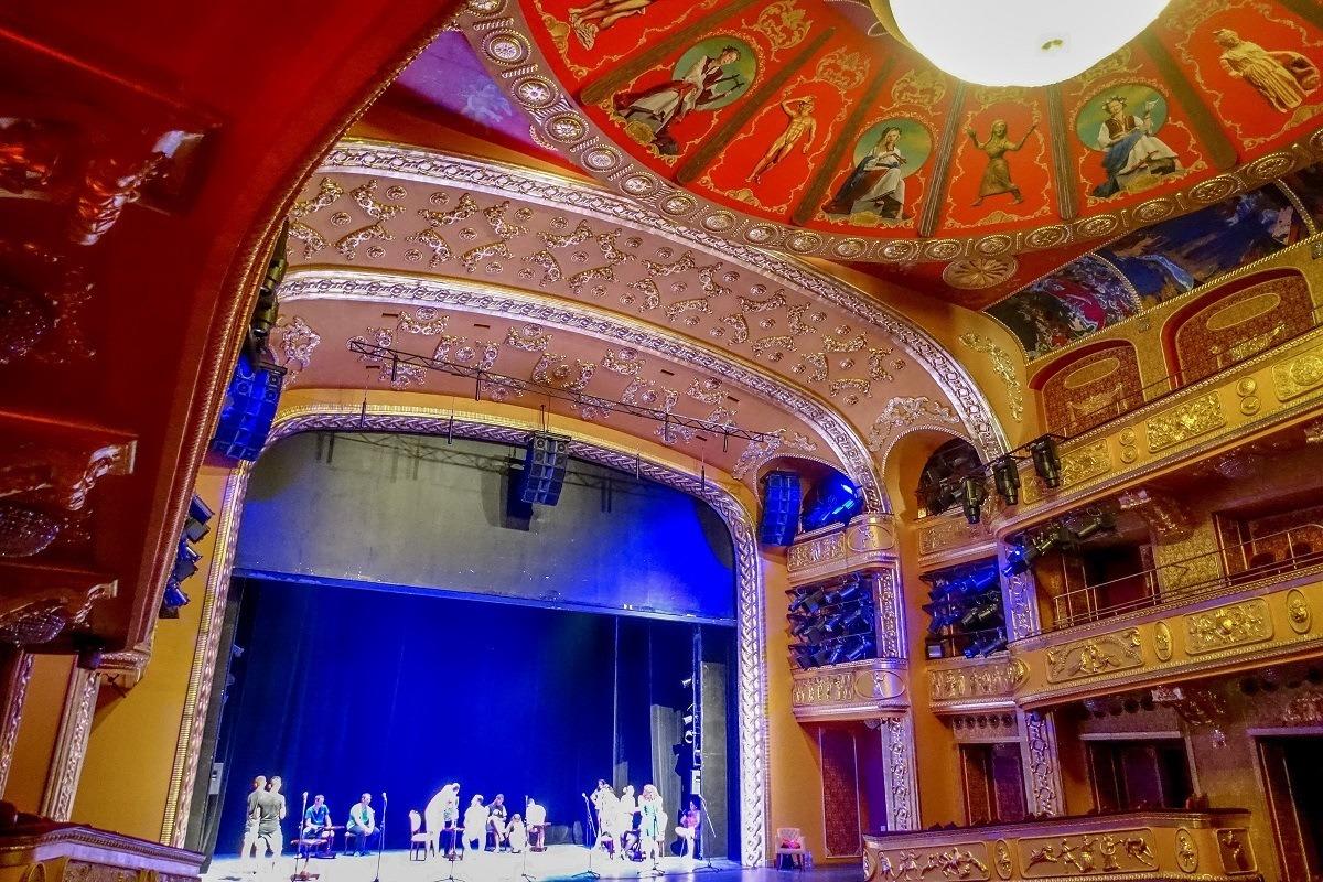 Inside the famous opera house in Skopje, Macedonia