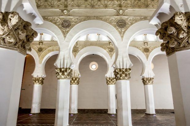 One of the top Toledo attractions is the Synagogue of Santa Maria la Blanca (the white synagogue) with its distinctly Islamic/Moorish architectural style.
