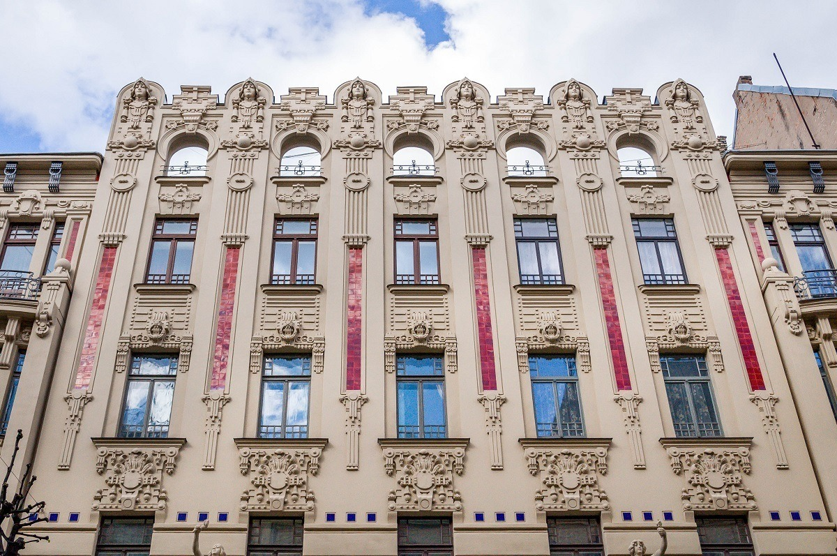 Riga's Art Nouveau building with embellishments