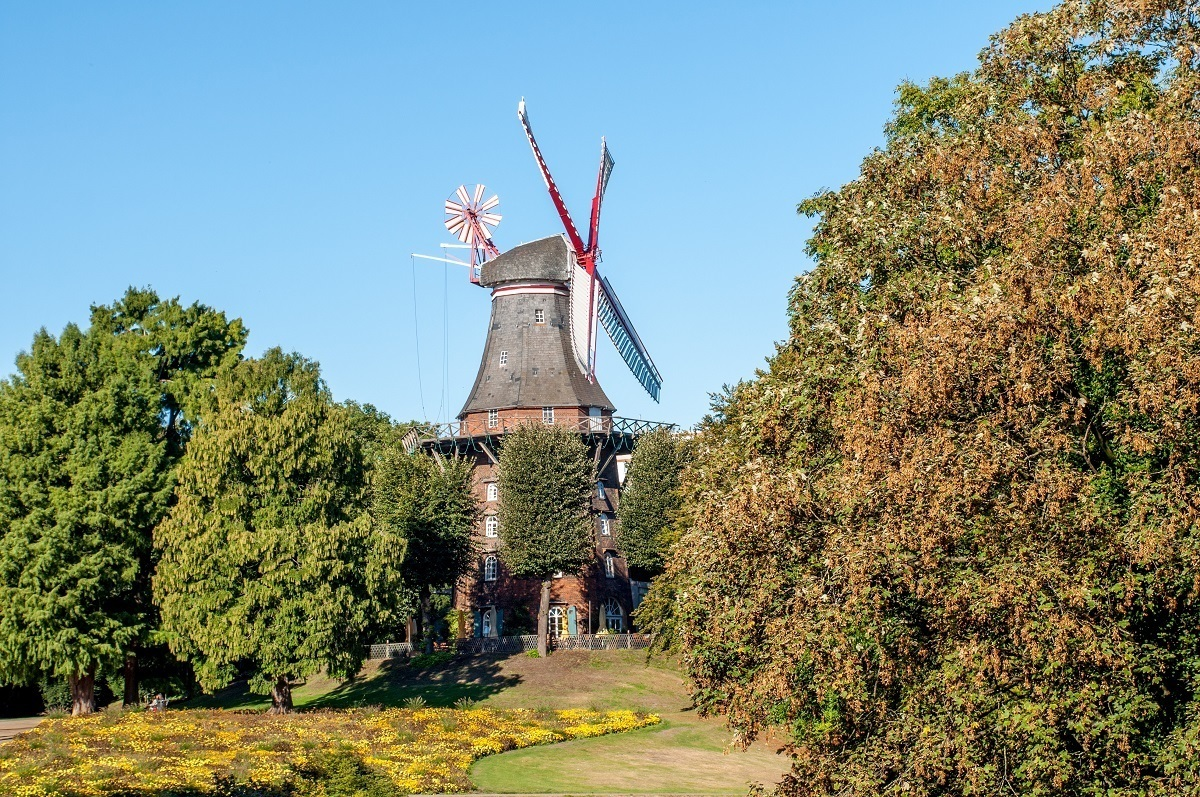 Muhle am Wall,a windmill surrounded by trees