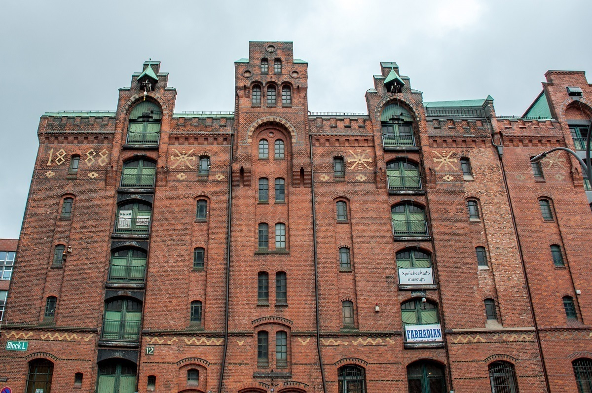 Details on the buildings of the Speicherstadt, a warehouse district that's been named a UNESCO World Heritage Site in Hamburg, Germany