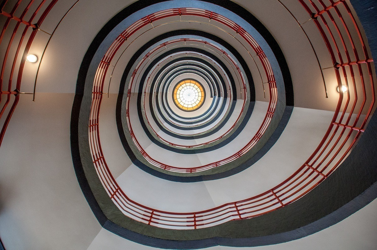 A spiral staircase is just one of the unique design elements in Hamburg's Kontorhaus District
