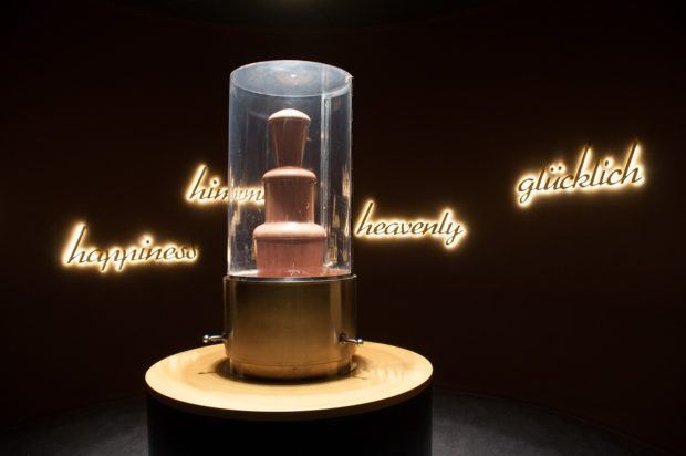 Chocolate fountain on display at Chocoversum in Hamburg, Germany