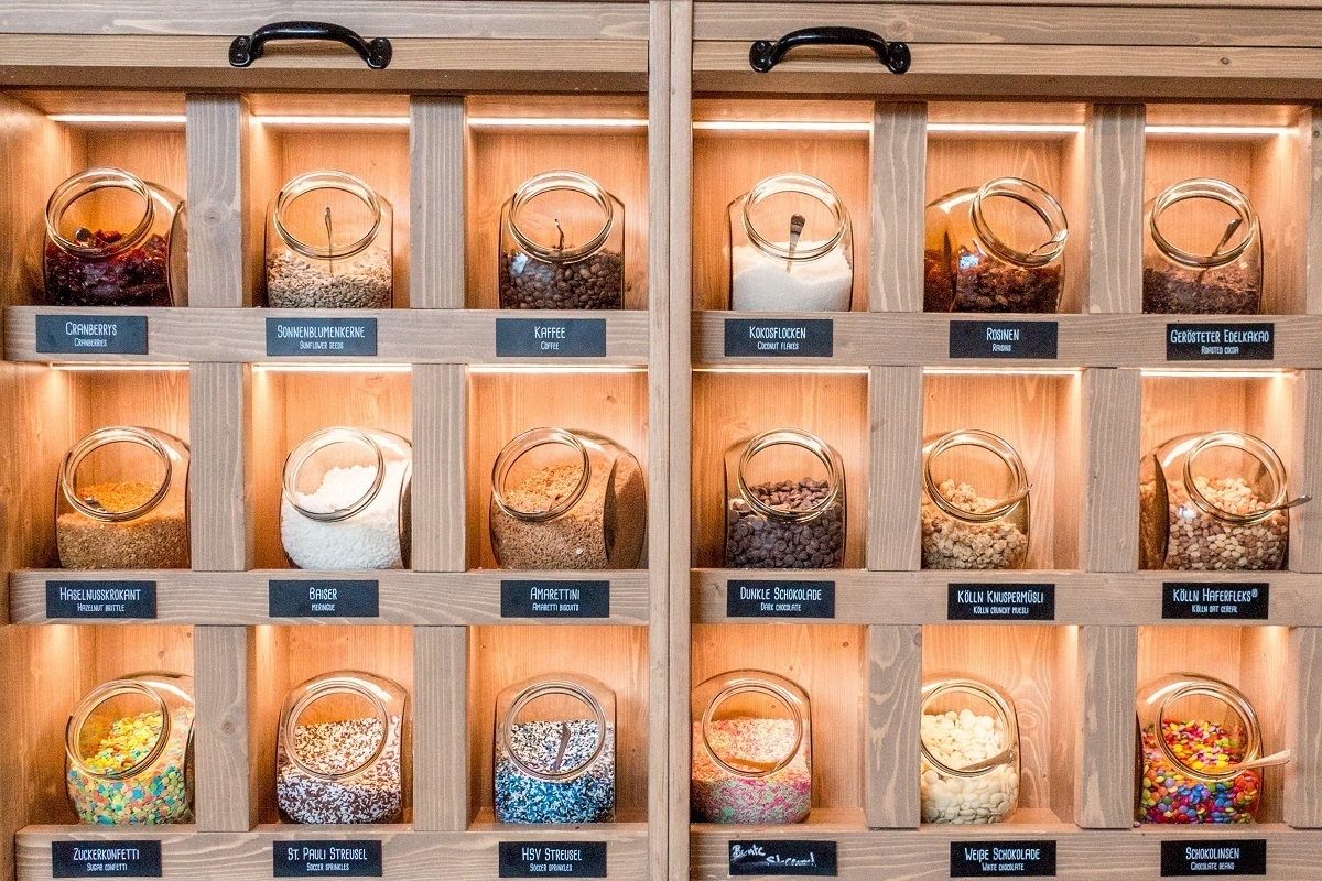 Toppings to make your chocolate bar at Chocoversum in Hamburg, Germany's Speicherstadt