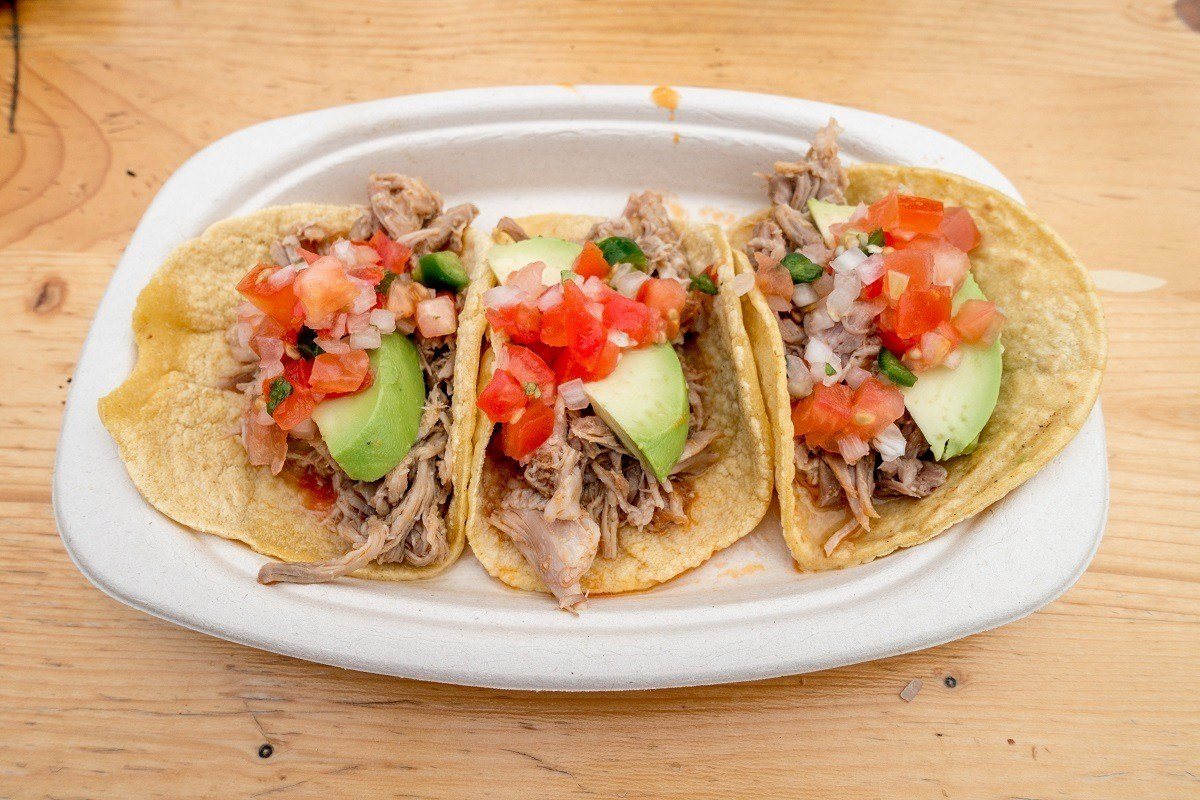 Carnitas tacos for sale at Copenhagen Street Food