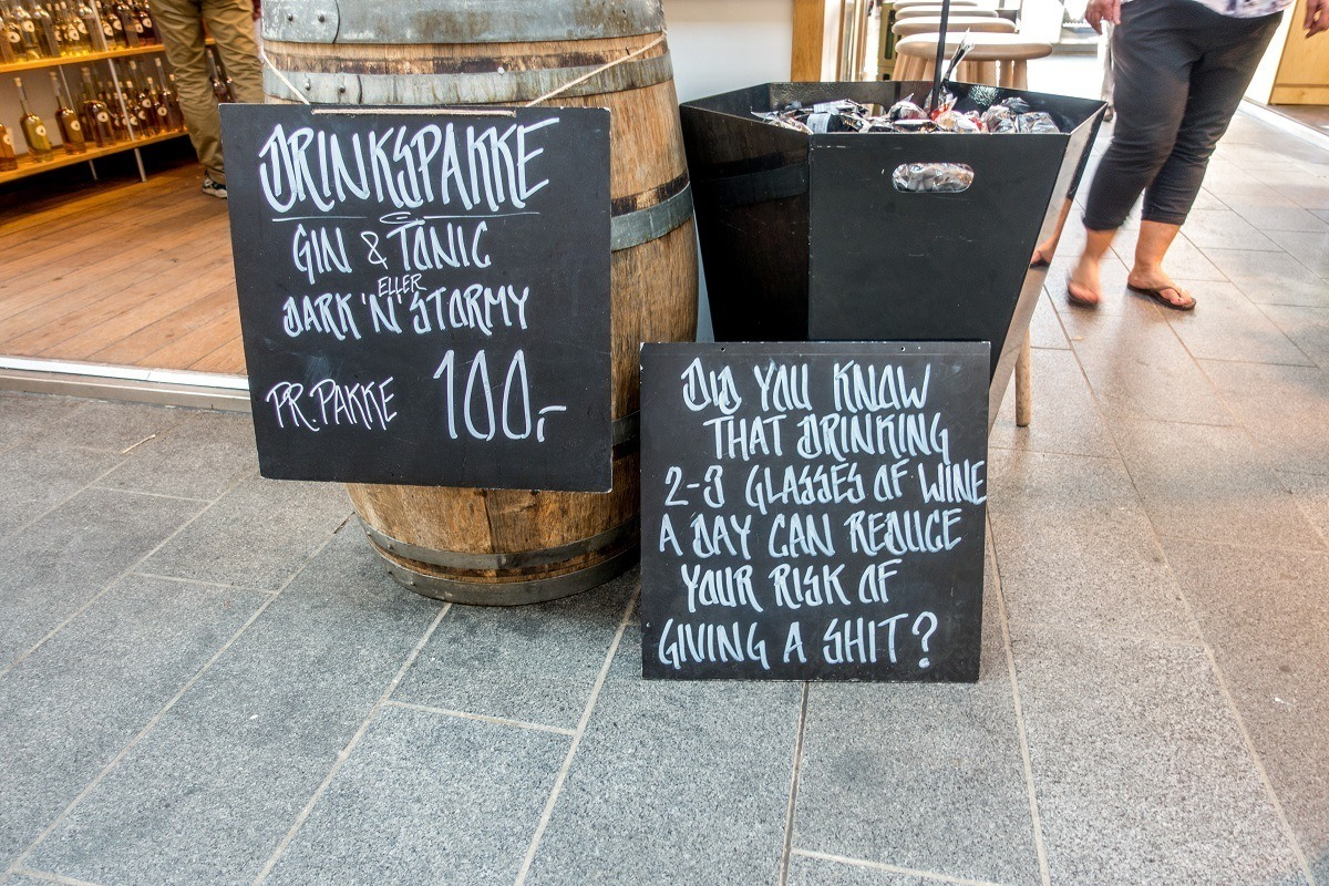 A little humor at Torvehallerne, one of the popular Copenhagen food markets