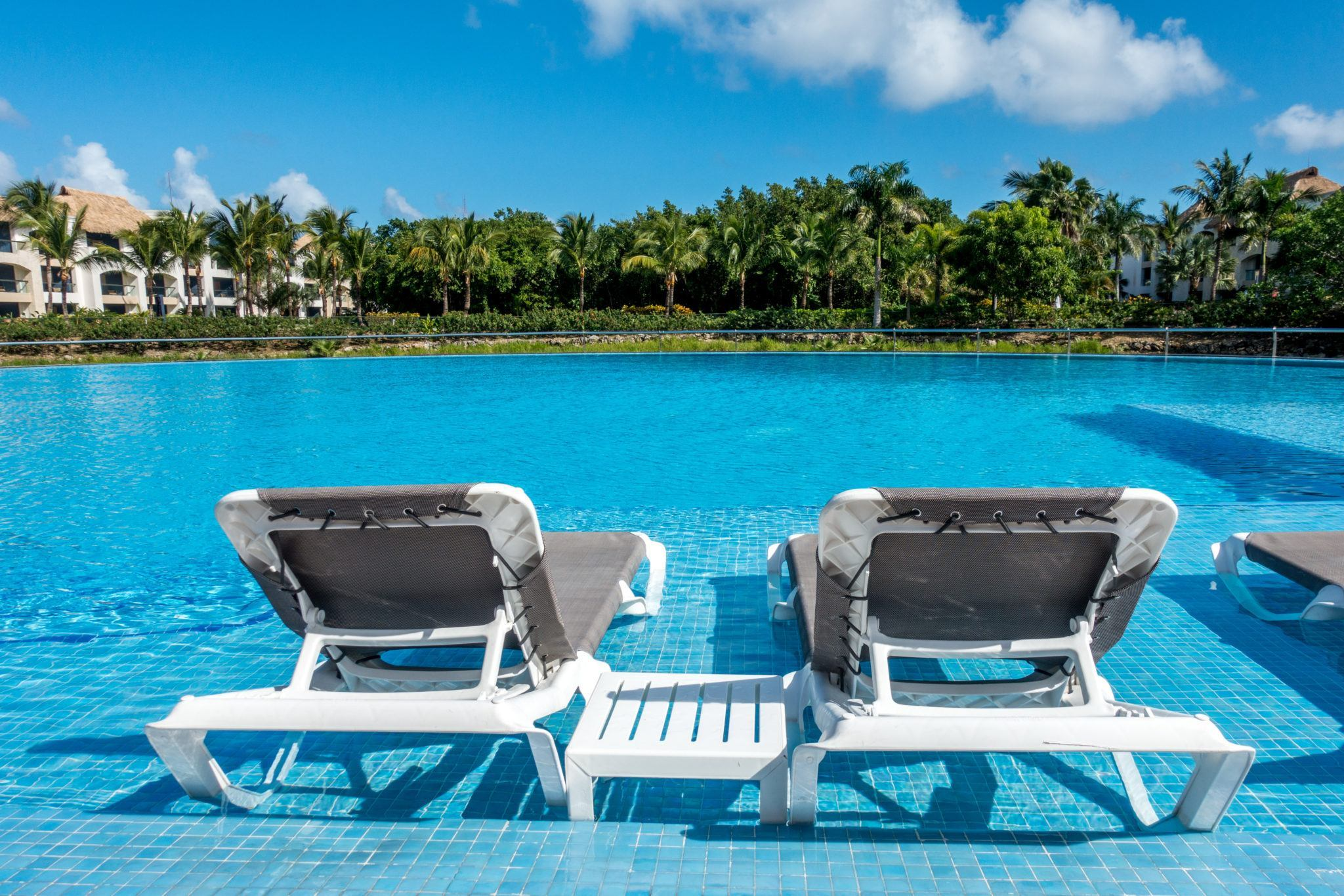 Lounge chairs at the edge of a pool