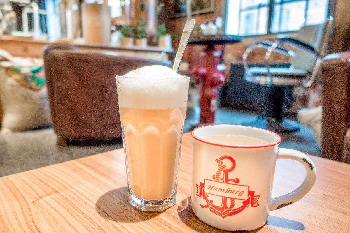 Drinks in the cafe of the Kaffeemuseum in Hamburg, Germany