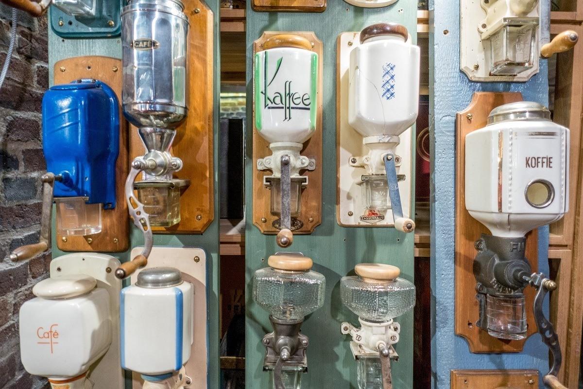 Coffee grinders on display at the Kaffeemuseum in Hamburg, Germany
