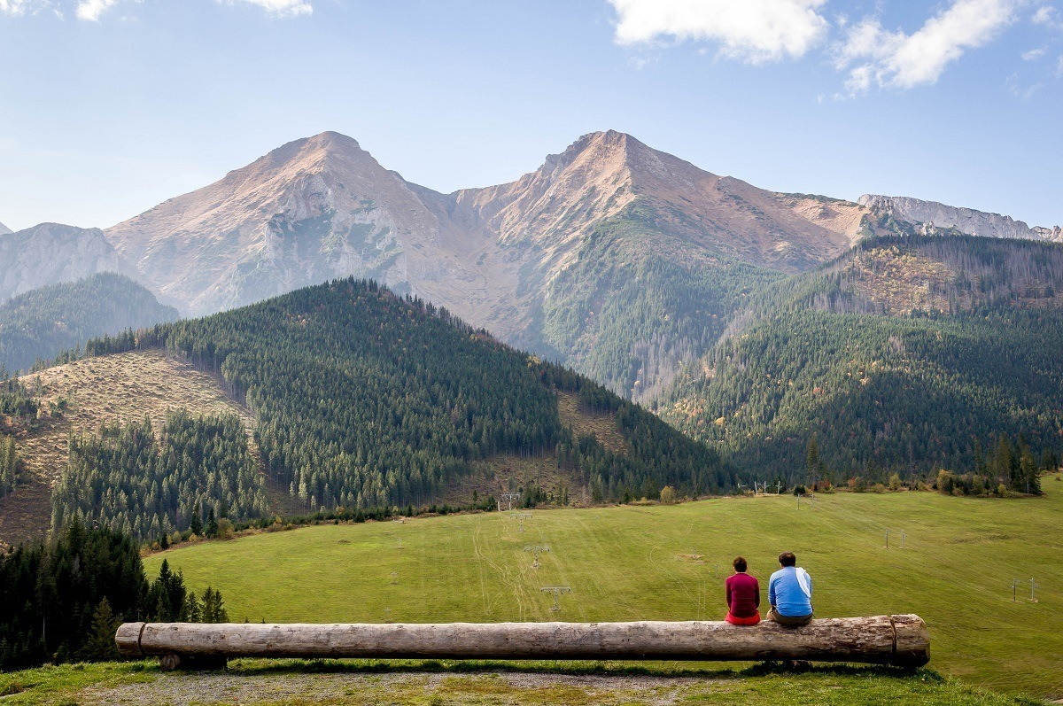 People sitting on a log and looking at the mountains