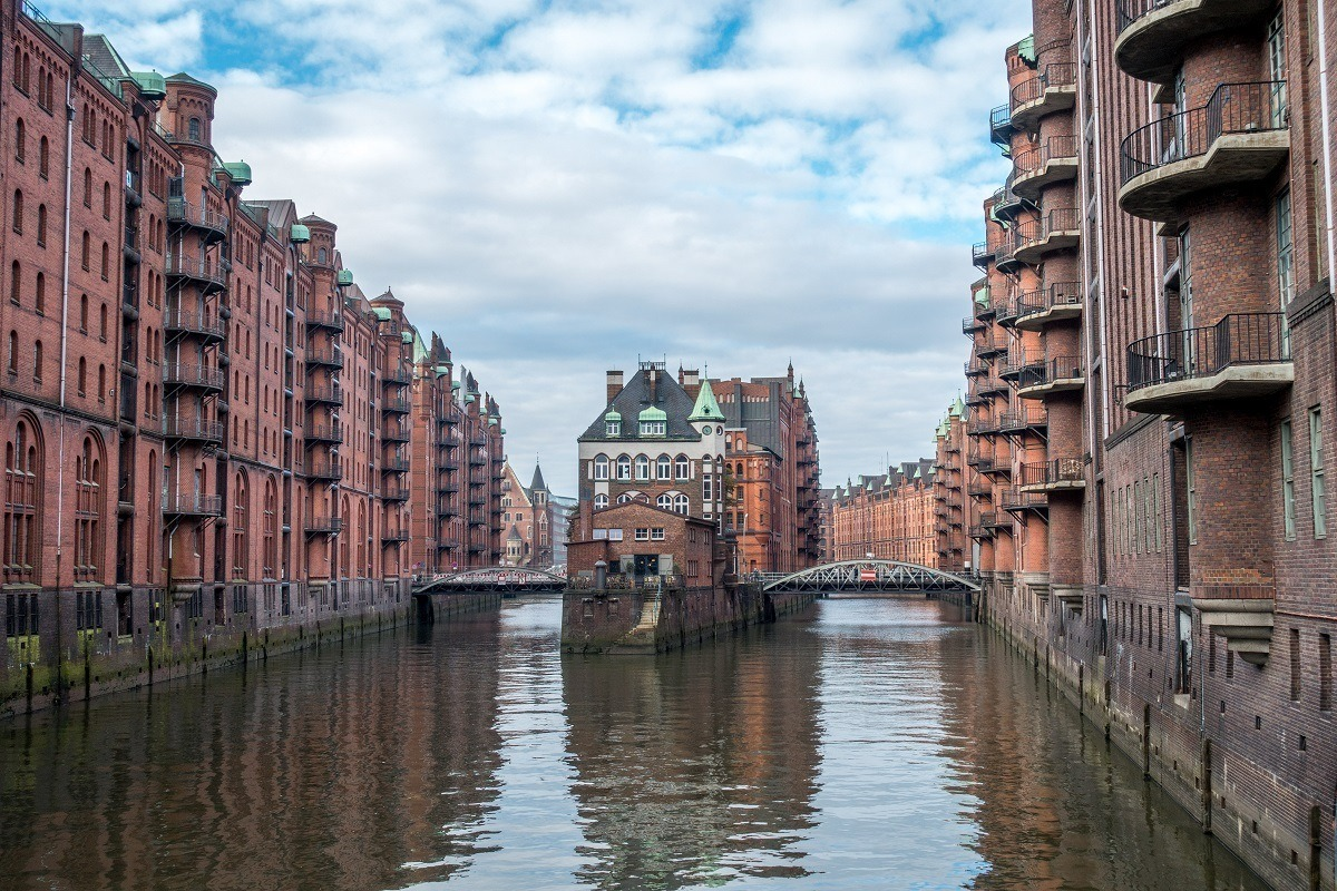 The Speicherstadt warehouse district is a UNESCO World Heritage Site in Hamburg, Germany