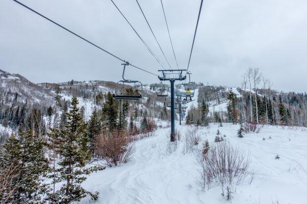 Catching the ski lift at the Steamboat Ski Resort.
