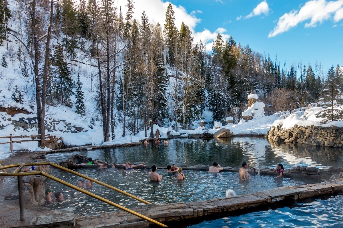 Dipping into the Strawberry Park Hot Springs after a Steamboat skiing experience.