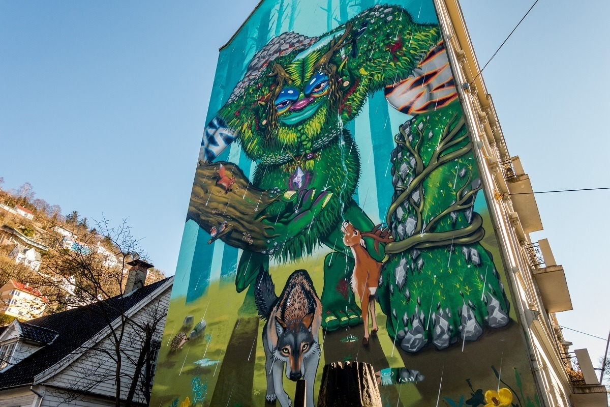 Street art mural with animals