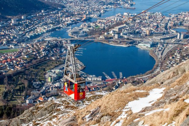 Taking a cable car to the top of Mount Floyen is one of the most fun things to do in Bergen, Norway