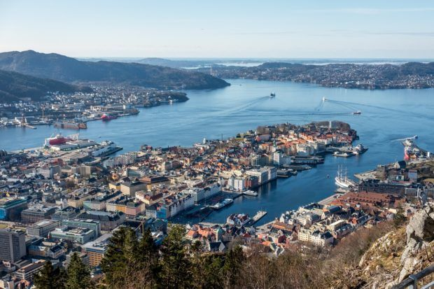 The beautiful city below, as seen from the top of the Bergen funicular in Norway. It's one of the top Bergen tourist attractions.