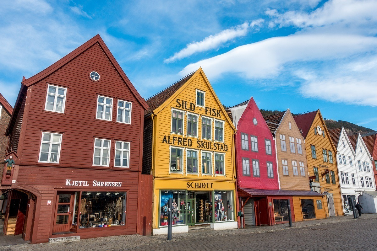 Bryggen, a row of colorful historic buildings