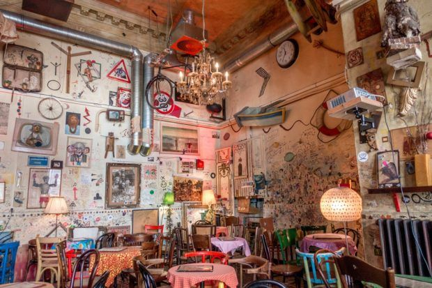 Csendes Vintage Bar, one of the top ruin bars Budapest, is literally decorated with trash