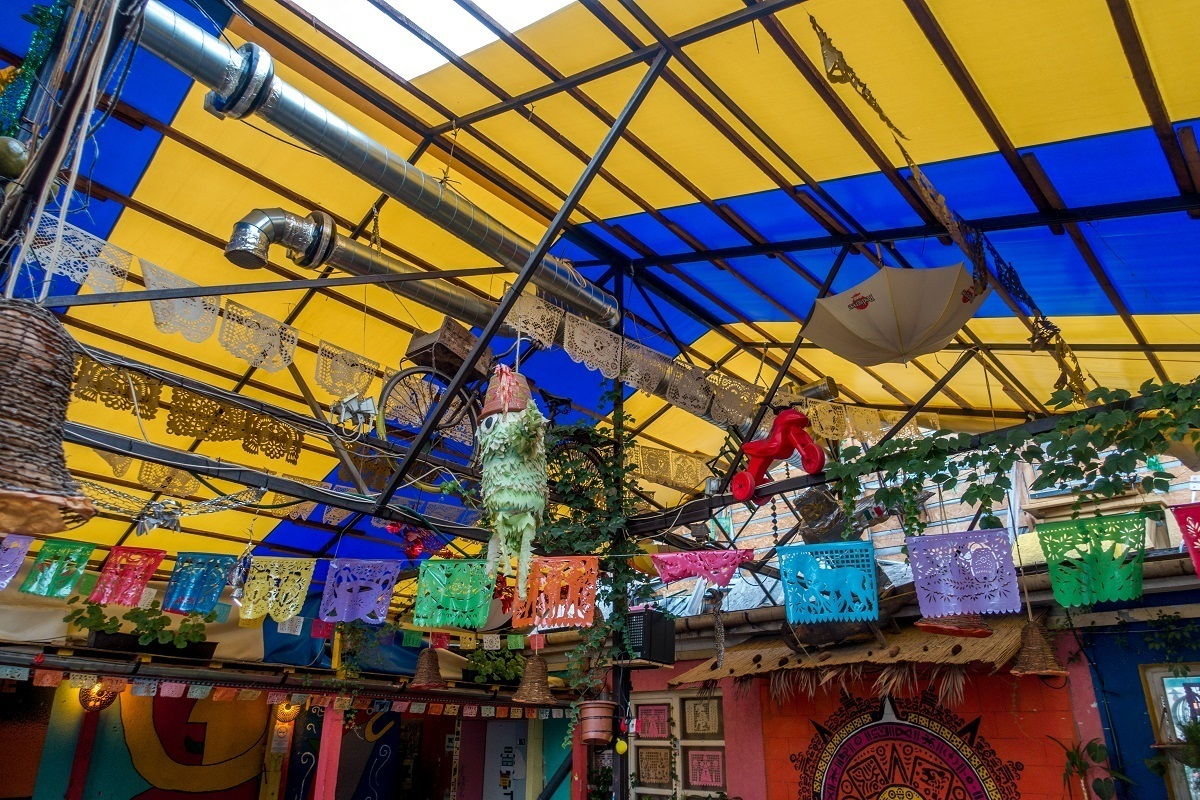 The multi-colored, Mexican-themed bar interior