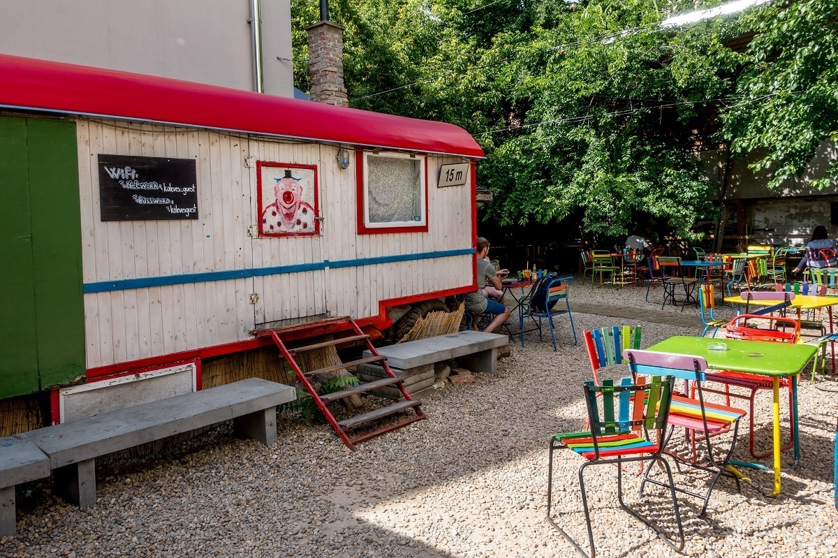 Colorful tables at Koleves kert outdoor bar