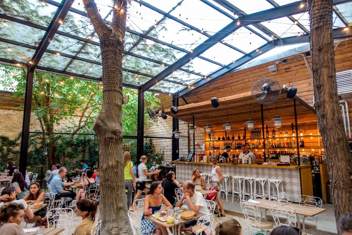 Courtyard and bar at Mazel Tov