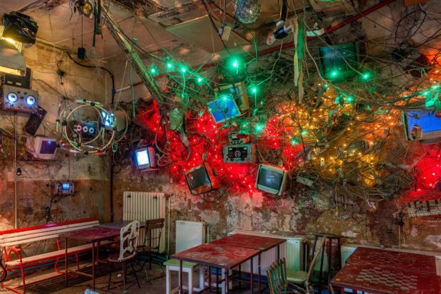 Just a few of the eclectic decorations at Szimpla Kert, a ruin pub Budapest